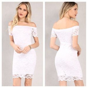 White Lace Bodycon Off the Shoulder Dress